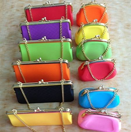 Fashion metal chain silicone coin bag purses