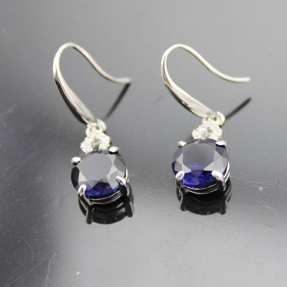 925 Silver tanzanite CZ Drop Earrings (PSJ0163)