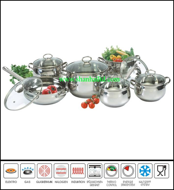 12Pcs Stainless steel apple cooking ware set Sc674