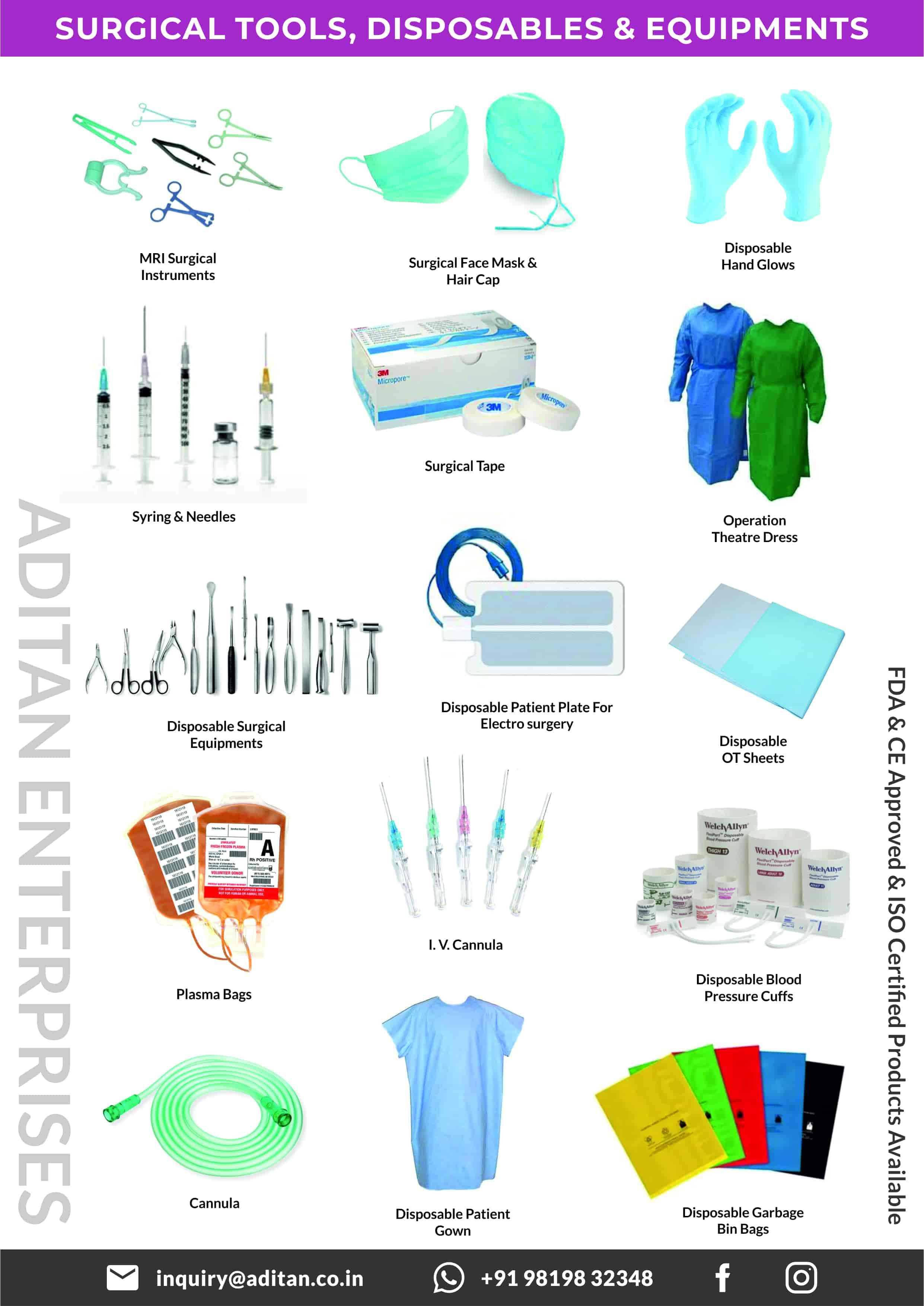 Surgical Tools, Disposables & equipments