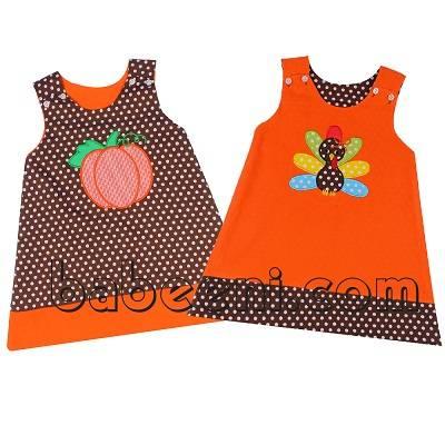 Lovely pumpkin and turkey applique A-line reversible dress - BB692