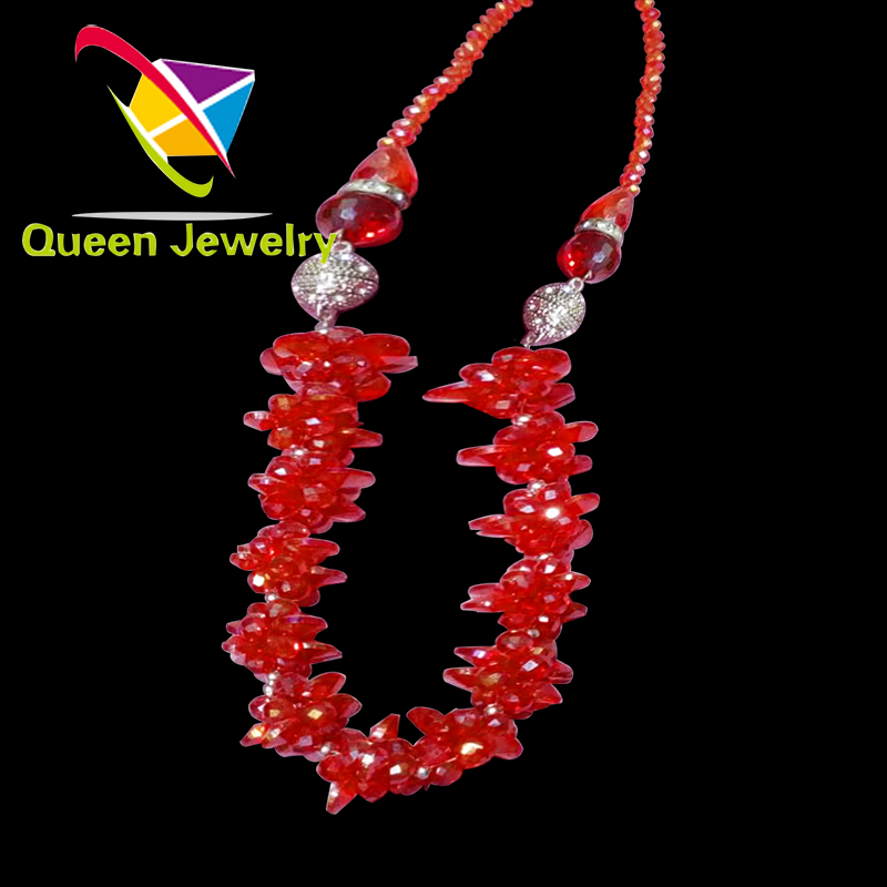 silk thread necklace Adjustable red crystal handmade Beaded Choker jewelry