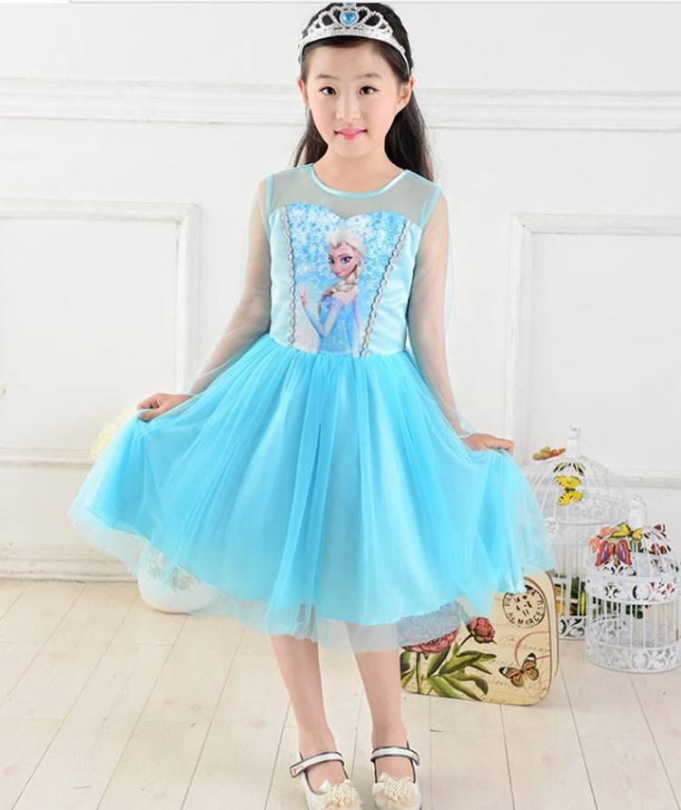2014 new  korea summer dress for kid Frozen Dress Elsa & Anna Summer Dress