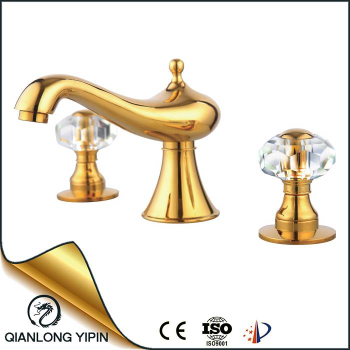 Crystal handles high quality titanium golden basin mixer faucet