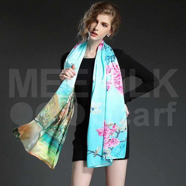 High Class Fashion Silk Scarf 100% Silk Printed Scarf Women Long Scarves
