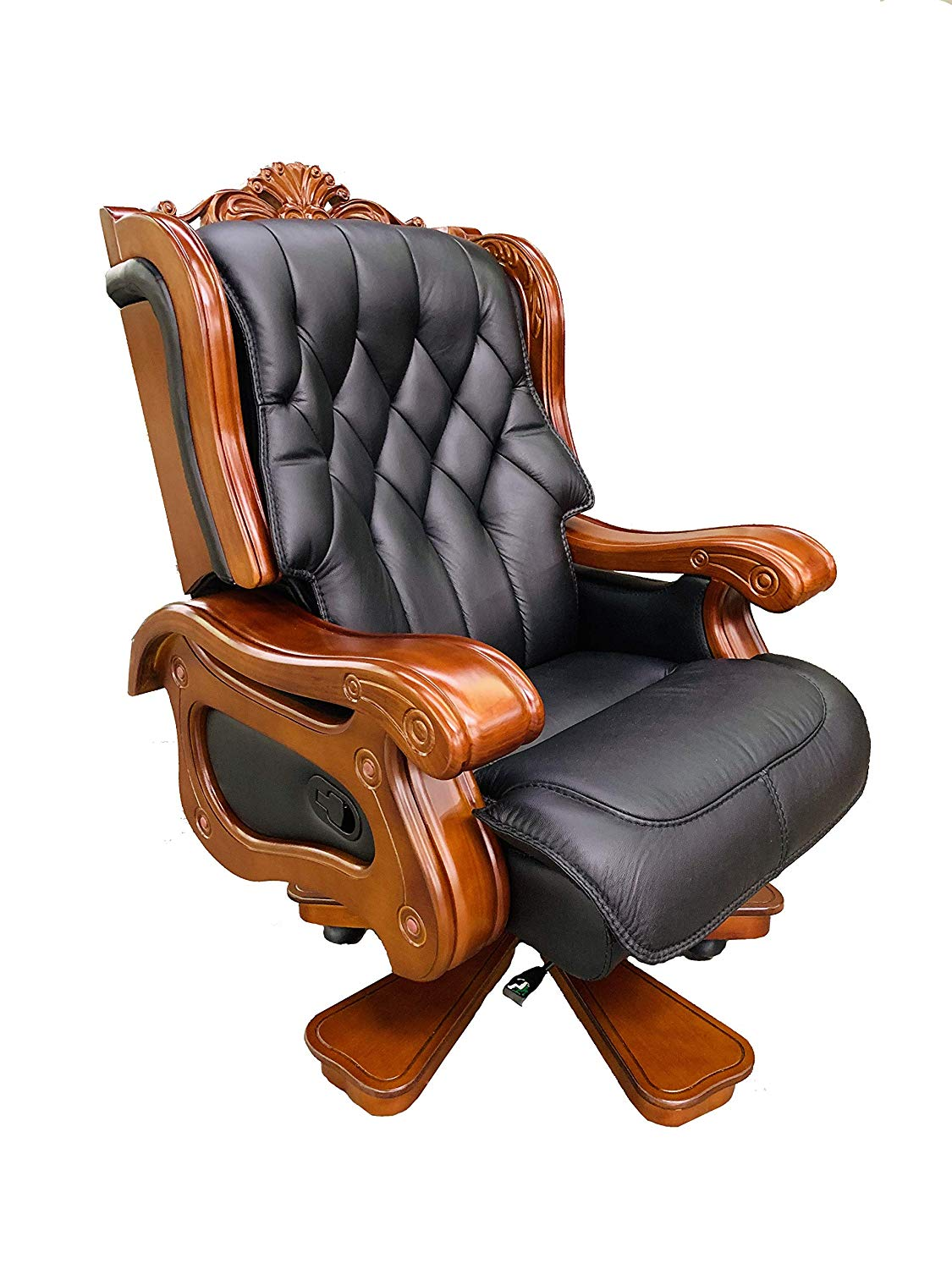 Executive Office Chair Genuine Leather & Solid Wood (Black or Brown)