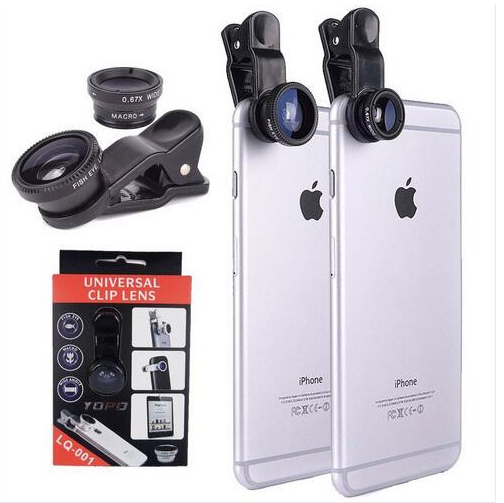Universal Clip 3 in 1 Fish Eye Wide Angle Macro Mobile Phone Lens camera lenses