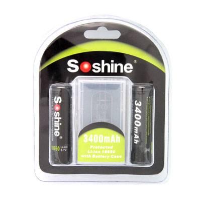 Soshine 18650 Li-ion 3400mAh 3.7V Protected Battery