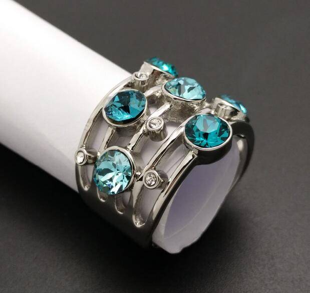 New Style Hot Sale Stainless Steel Wide Band Colors Crystal Ornament Ring With Size 5,6,7,8,9,10