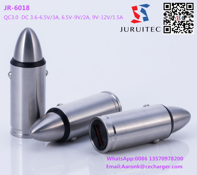 Fast charging QC3.0 bullet shape USB car charger