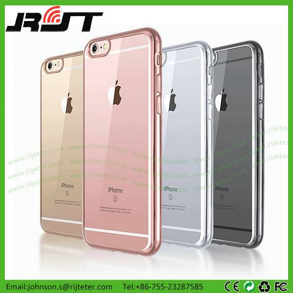 Transparent Clear Ultra Thin Electroplate Soft TPU Cell Phone Cases for iPhone 6