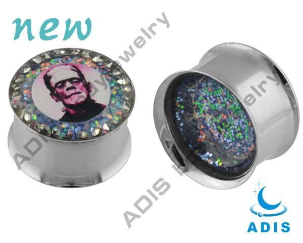 Double flared gem head portrait ear tunnels body jewelry