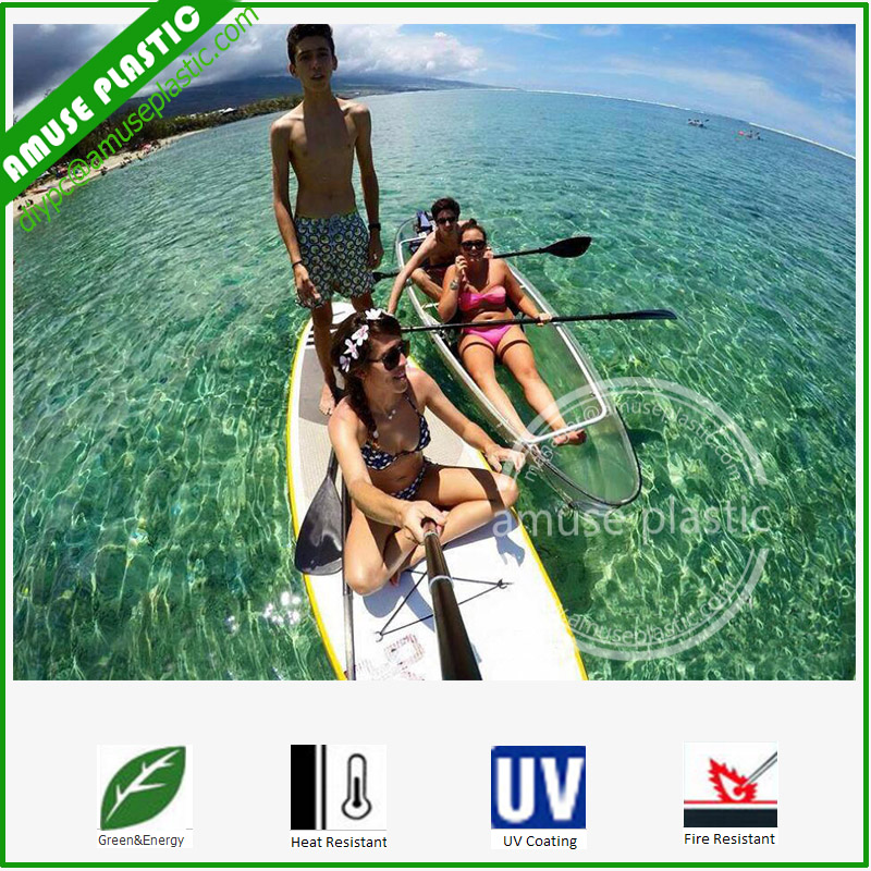 Hot Sale Easy Assembling Clear Lake Kayaking Transparent Canoe Bottom