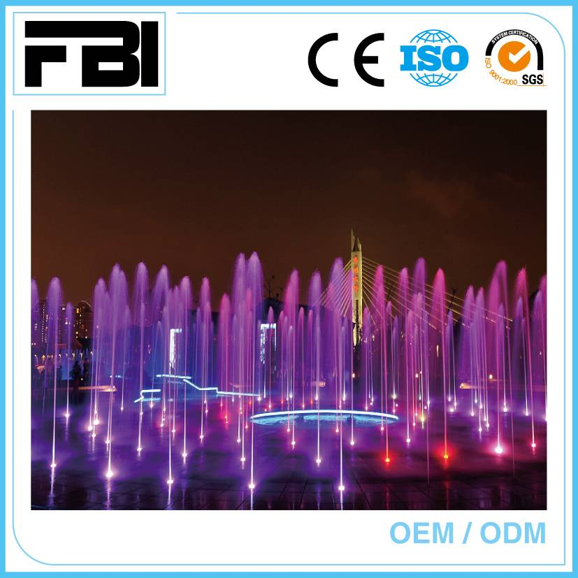 colorful music fountain, entertaining outdoor fountain