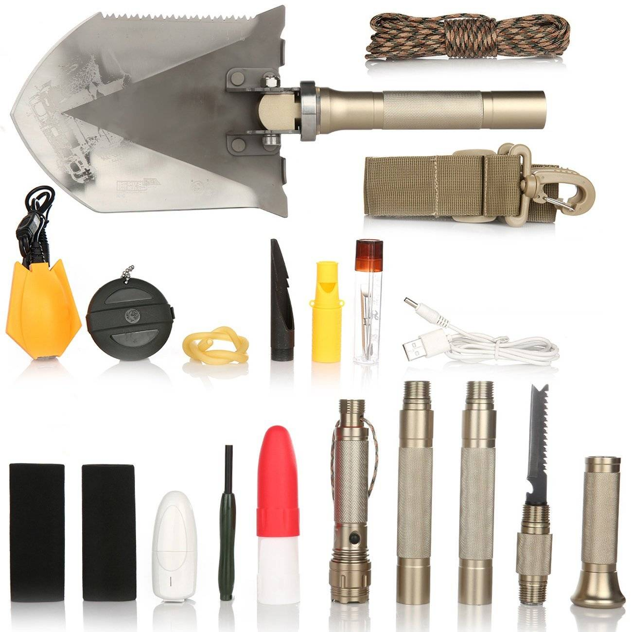 Outdoor Camping And Hiking Multifunctional Surviavl Shovel With More Than 30 Functions