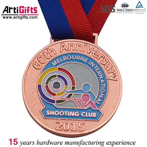 Soft enamel color antique copper sport medal hanger