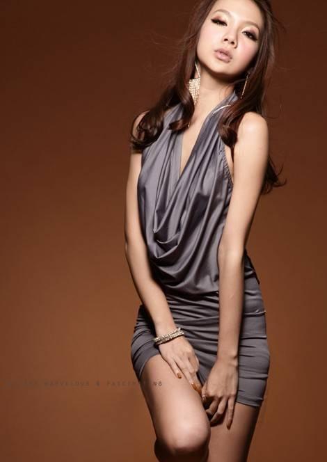 Stylish Hollow Back Korean Style Halter Dress,Cotton Dress,Ruffled Dress