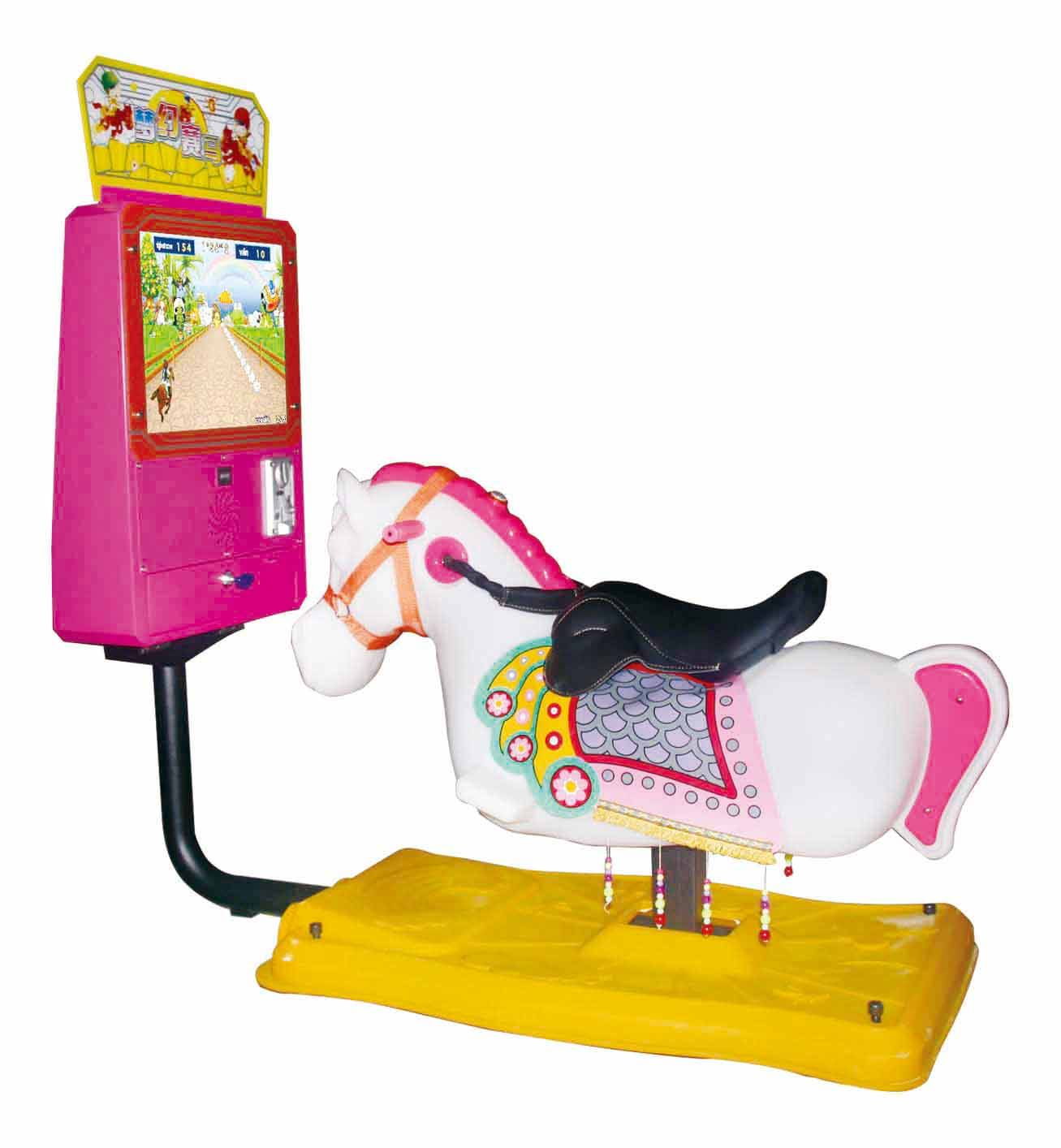 """Coin Operated Swing Kiddie Rides Rocking with 17""""Video Game- Dream Horse"""