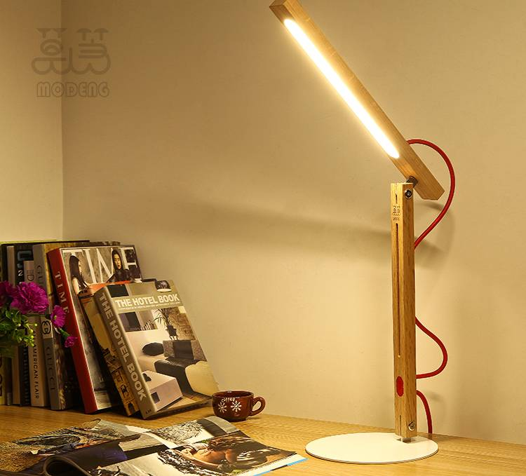 MODENG Handmade desk lamp classic wooden lamp style simple living room lights study light with elect