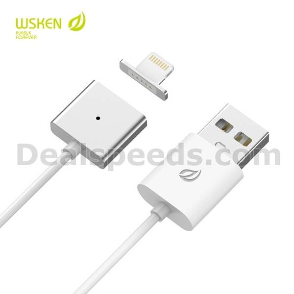 Detachable Wsken Metal Magnetic X-Cable 1m Single Alloy Cable with LED indicator Light For iPhone 6S