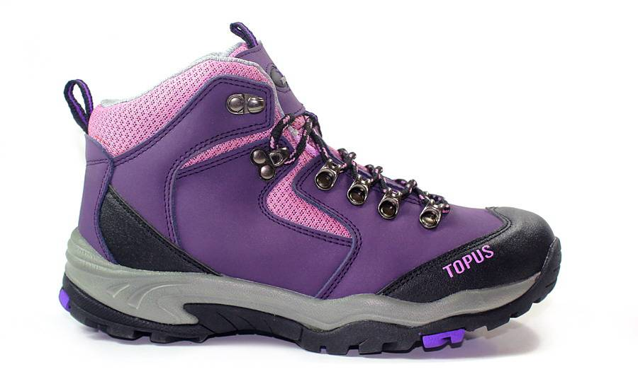 Womens purple leather hiking shoes/outdoor sports shoes