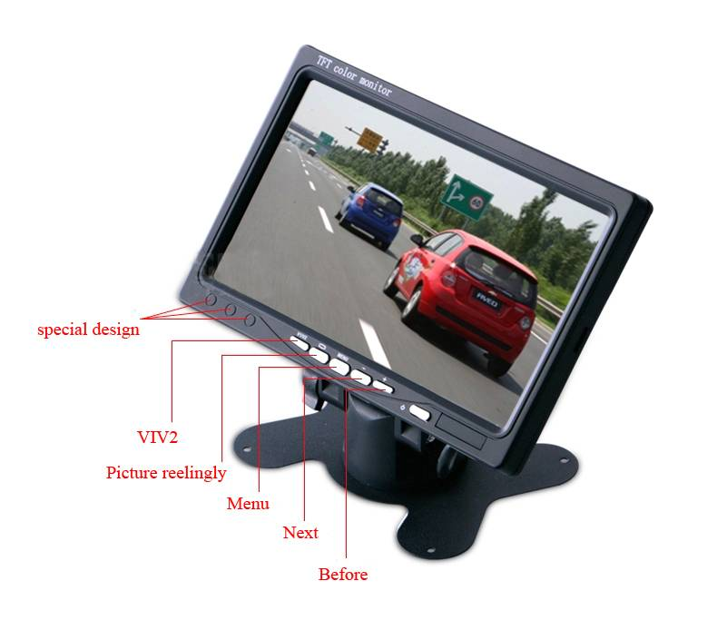 7 Inch Color TFT LCD Car Headrest Monitor 2 Video Input Car Rear View Camera Monitor Screen for DVD