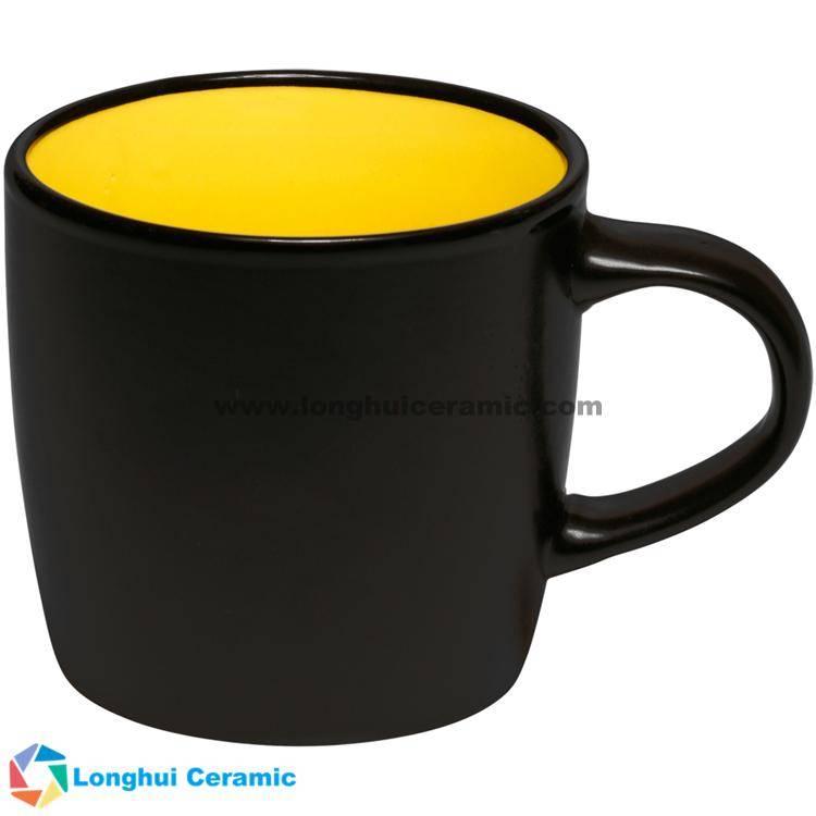 12oz Classic two-tone matte customized large logo ceramic tea mug