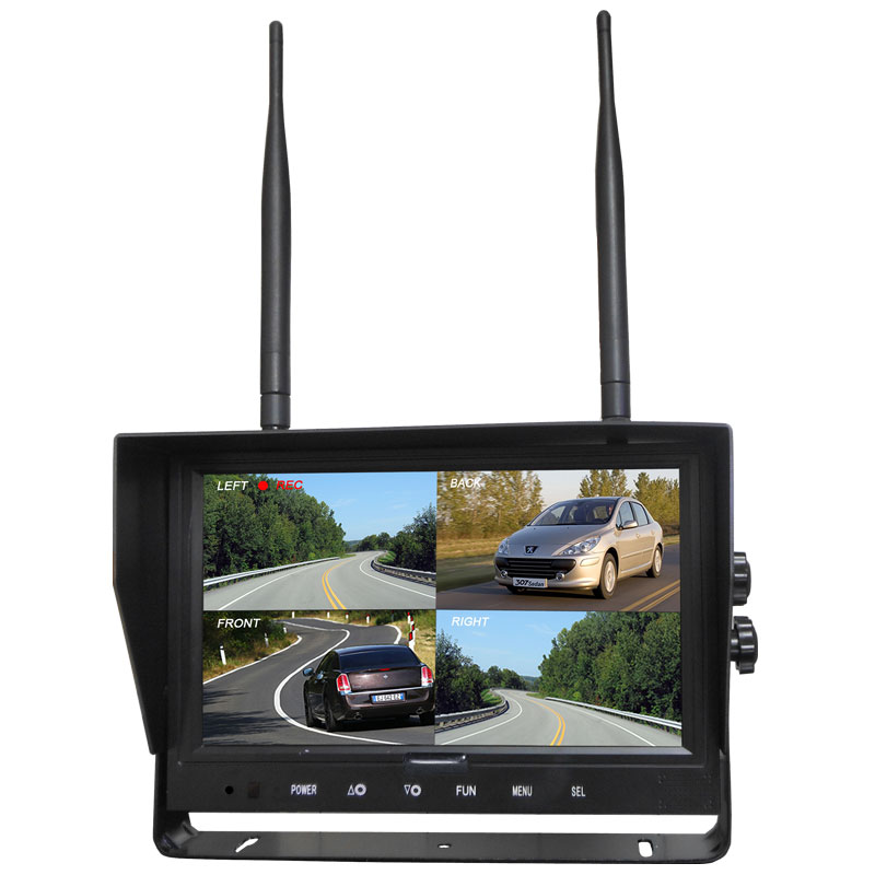 """Wireless Rearview 7"""" Quad Digital Monitor for Excavator, Crane, Truck, Lorry, Farm Vehicle, Fire"""