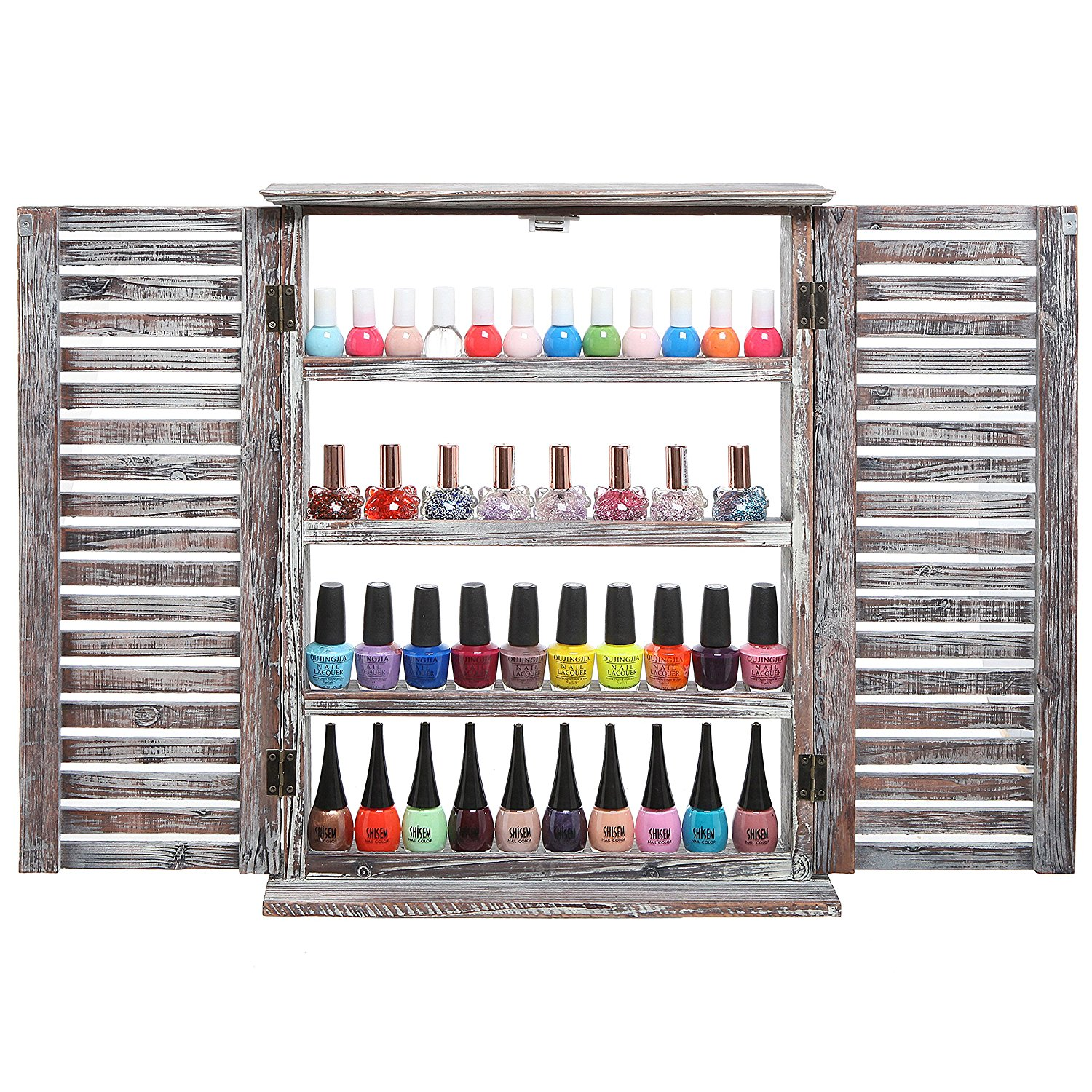 MyGift? Brown Wood Window & Shutter Design Nail Polish Rack for Wall / Salon Display Stand with 4 Sh