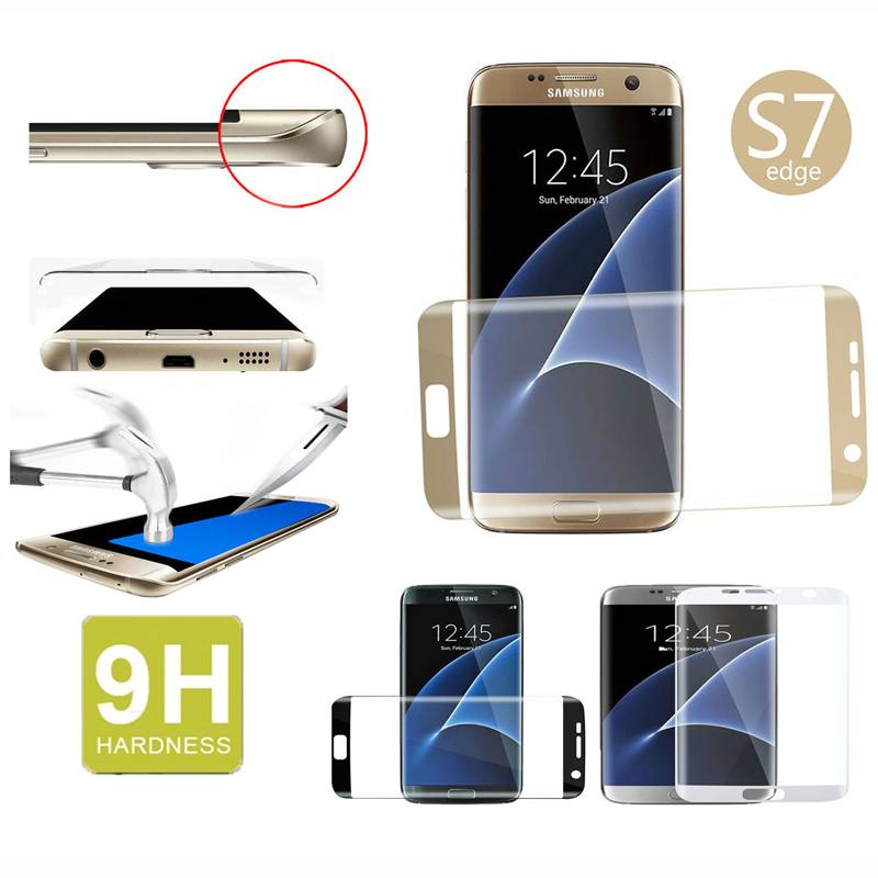 top sale 3d curve edge full cover tempered glass screen protector for Samsung S7 edge
