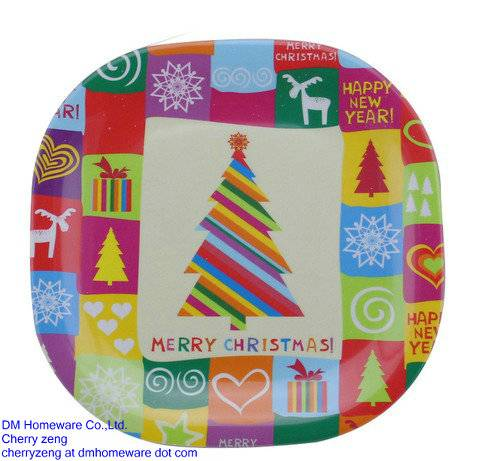 Plastic square plates for christmas holiday