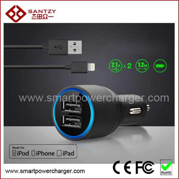 2015 New High speed Universal Mobile Phone Charger USB Car Charger with LED Light