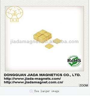 neodymium iron boron magnet with gold coating