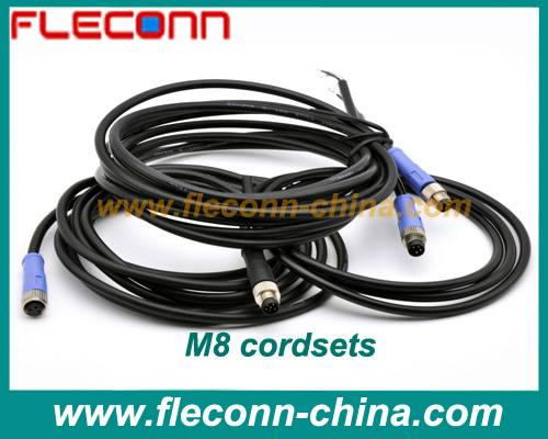 M8 Sensor Cable and Cordset with 3 PIN 4 PIN 5 Pole 6 Pole Connector