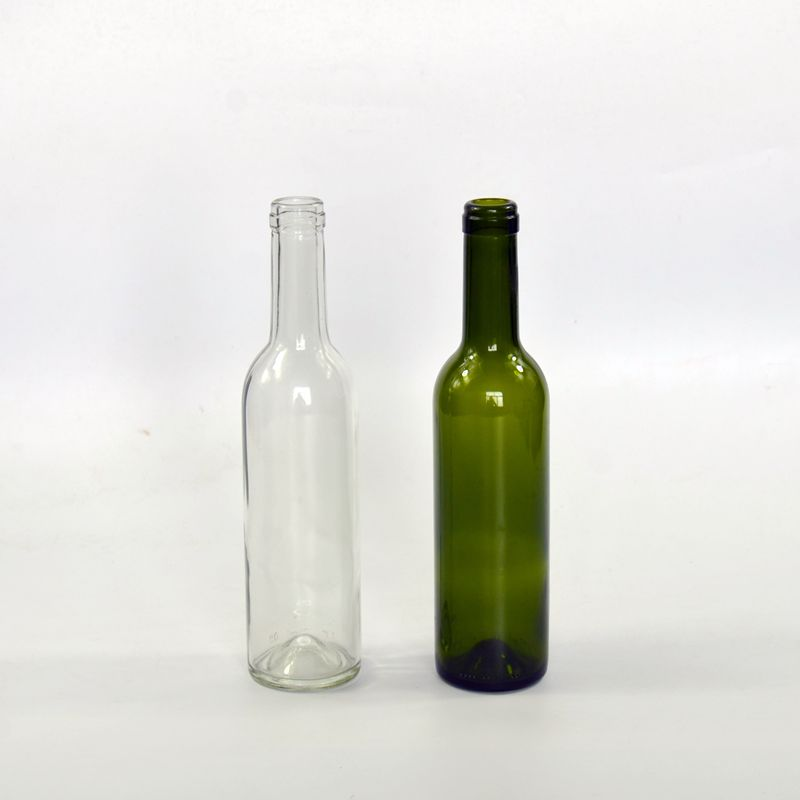 flint and green color glass wine bottle 375ml