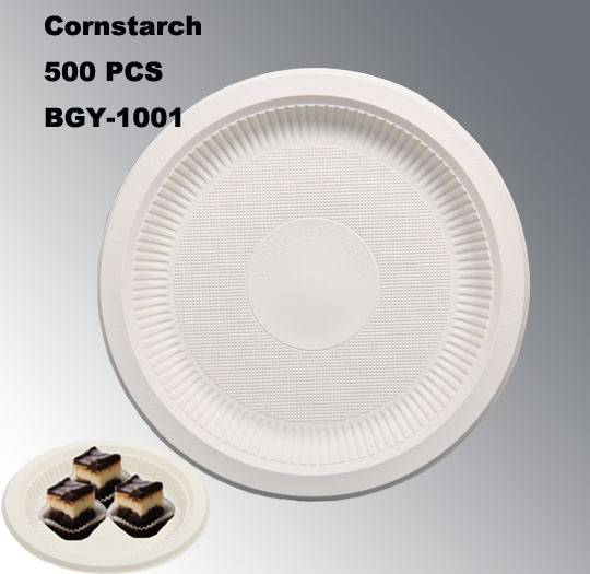 BGY-1001 Cornstarch tableware eco-friendly disposable plate