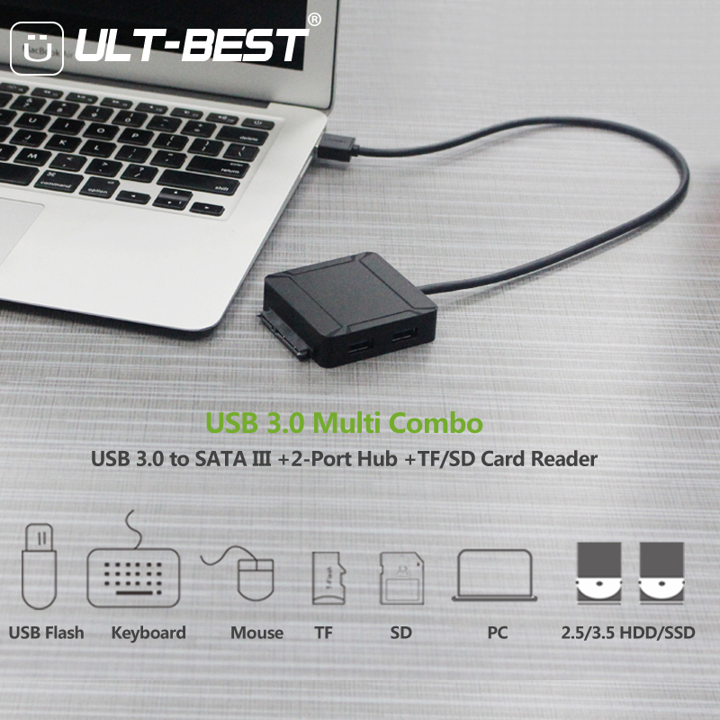 USB 3.0 to SATA III Hard Drive Adapter Cable for 2.5 / 3.5 inch SSD/HDD with 2Port USB 3.0 and SD/TF