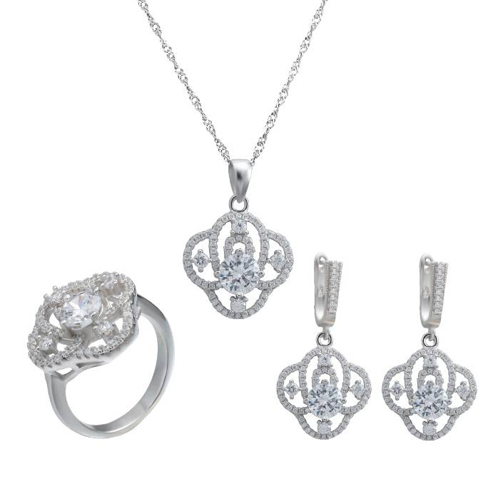Sterling Silver Wedding Jewelry Set for Bridal
