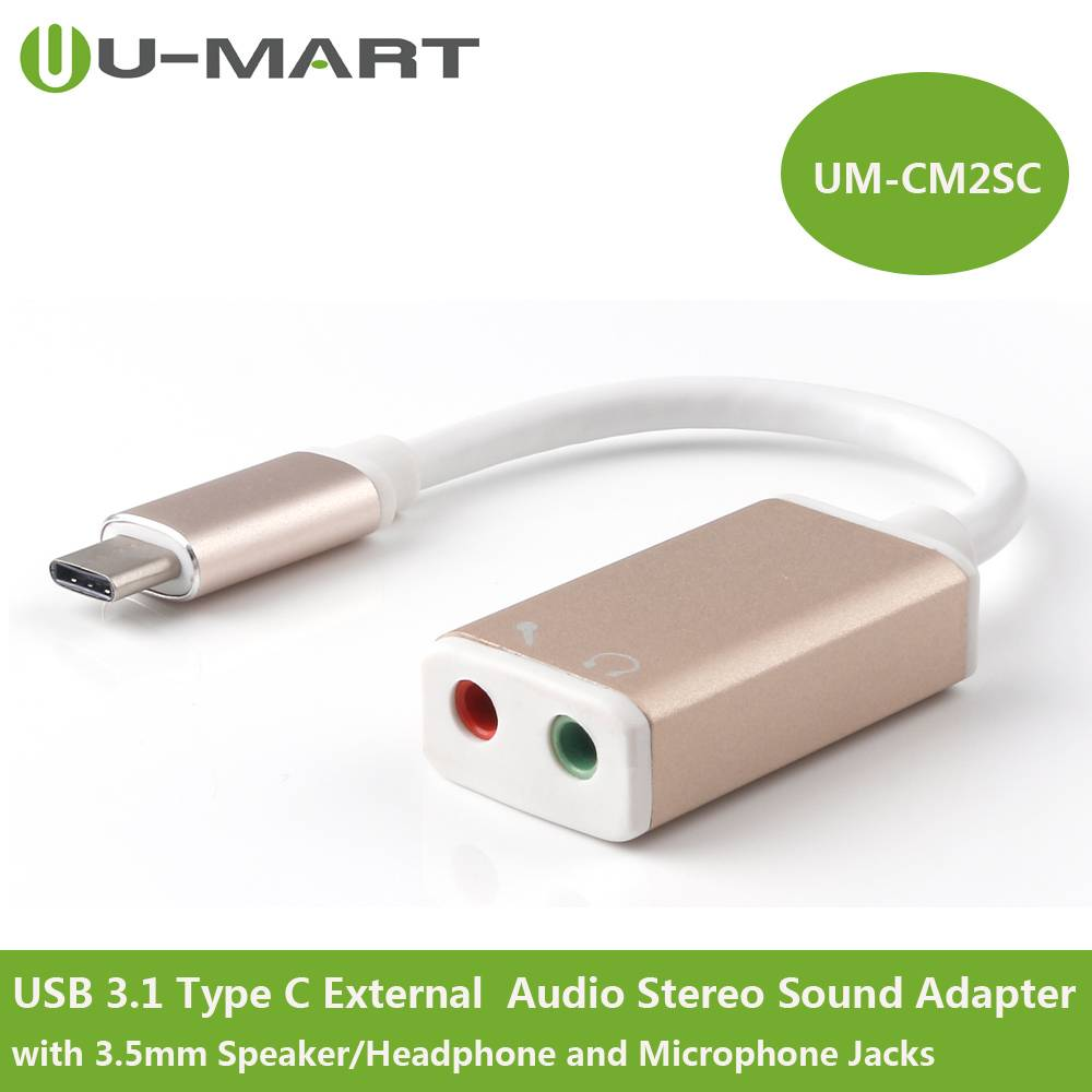USB3.1 Type C(USB-C) to  External  Audio Stereo Sound Adapter with 3.5mm Speaker/Headphone and Micro