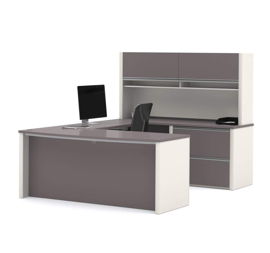 Bestar U-Shaped Desk with lateral File Cabinet and Hutch - Connexion