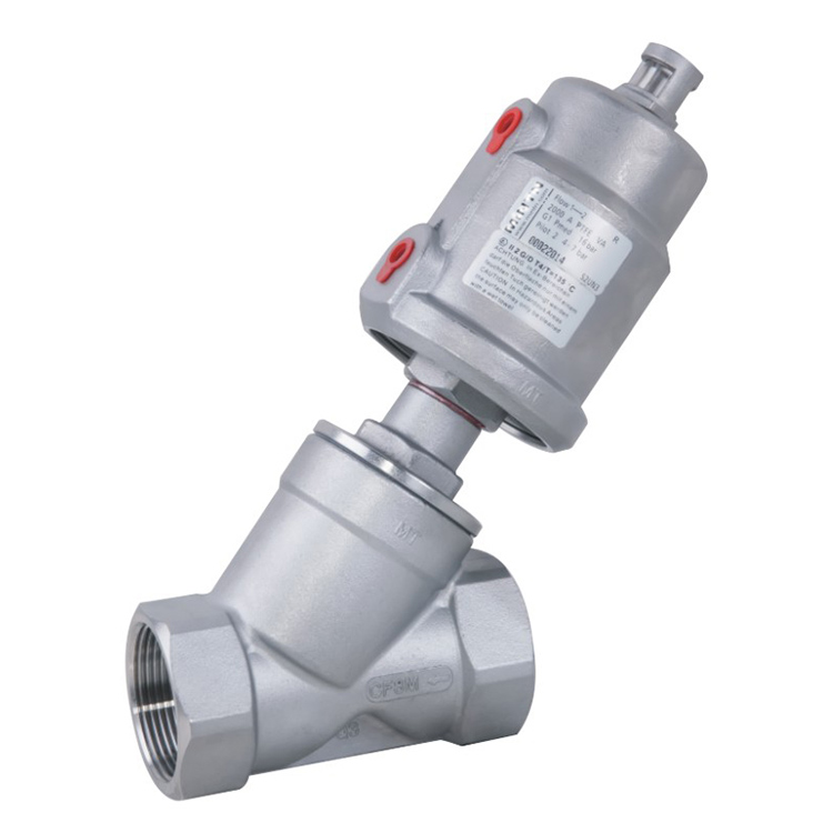 Threaded Pneumatic Angle Seat Valve with Stainless Steel Actuator