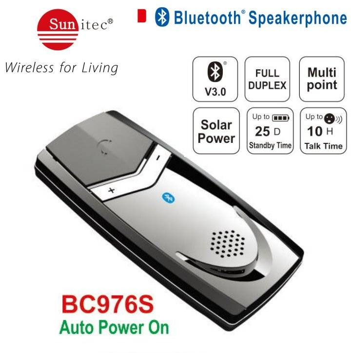 Solar Powered Bluetooth Hands-free SpeakerPhone Car Kit