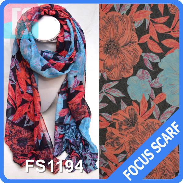 Factory price flower print wholesale scarf