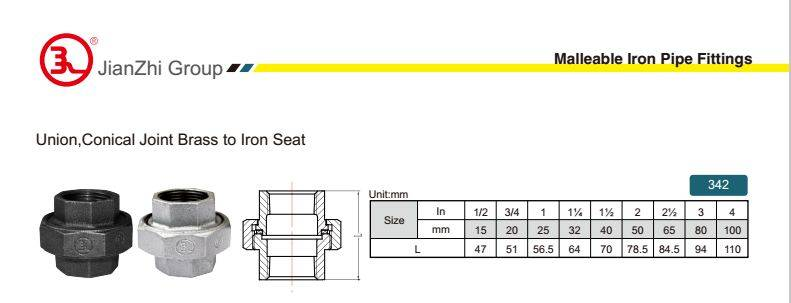 Union, Conical joint brass to iron seat-342