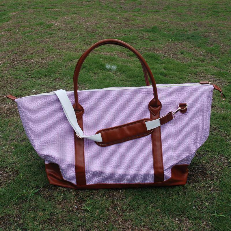 Seersucker With Brown PU Weekender Travel Large Tote Bag