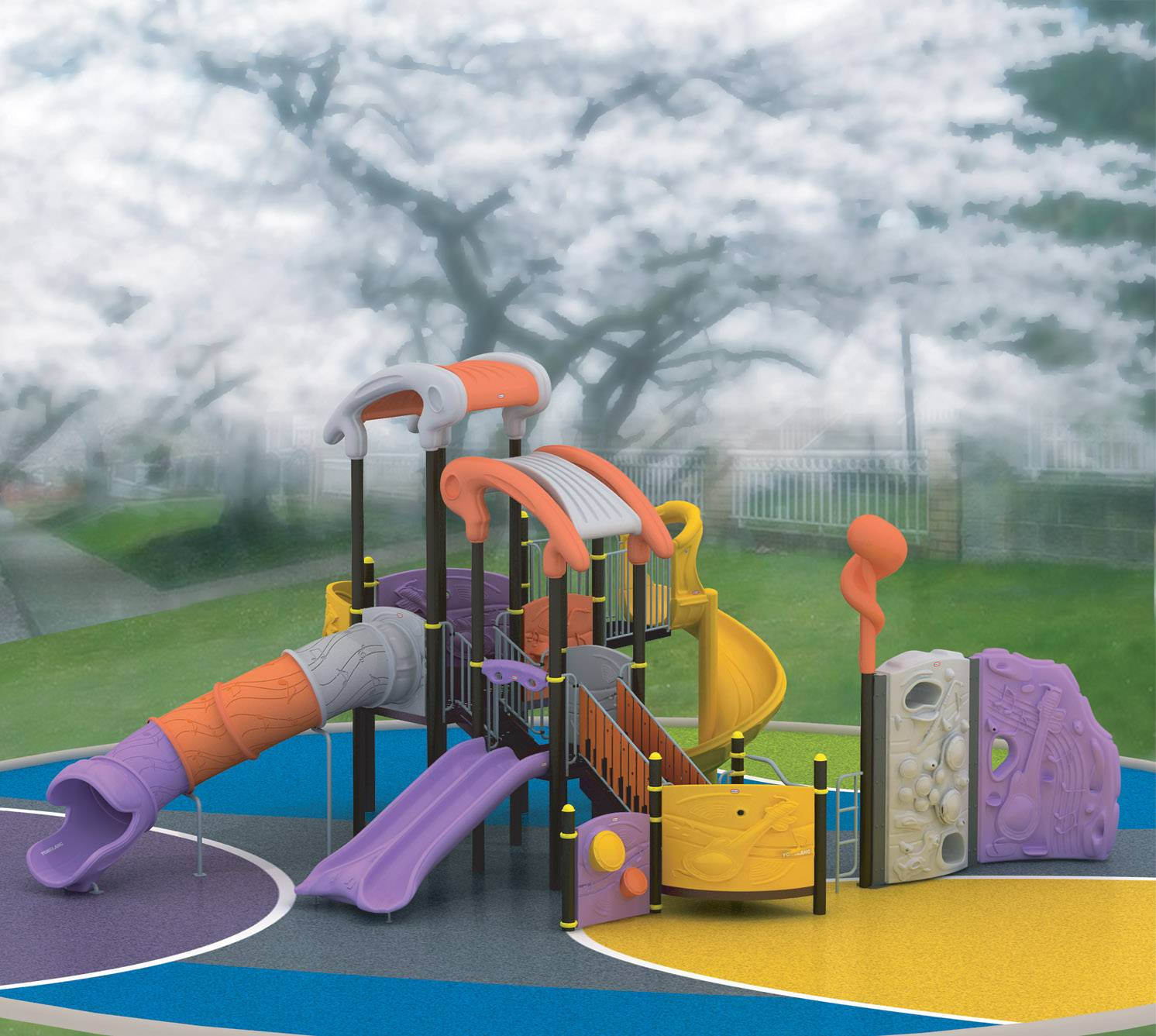 LLDPE plastic galvanized pipe kids plastic parts tube playground slide
