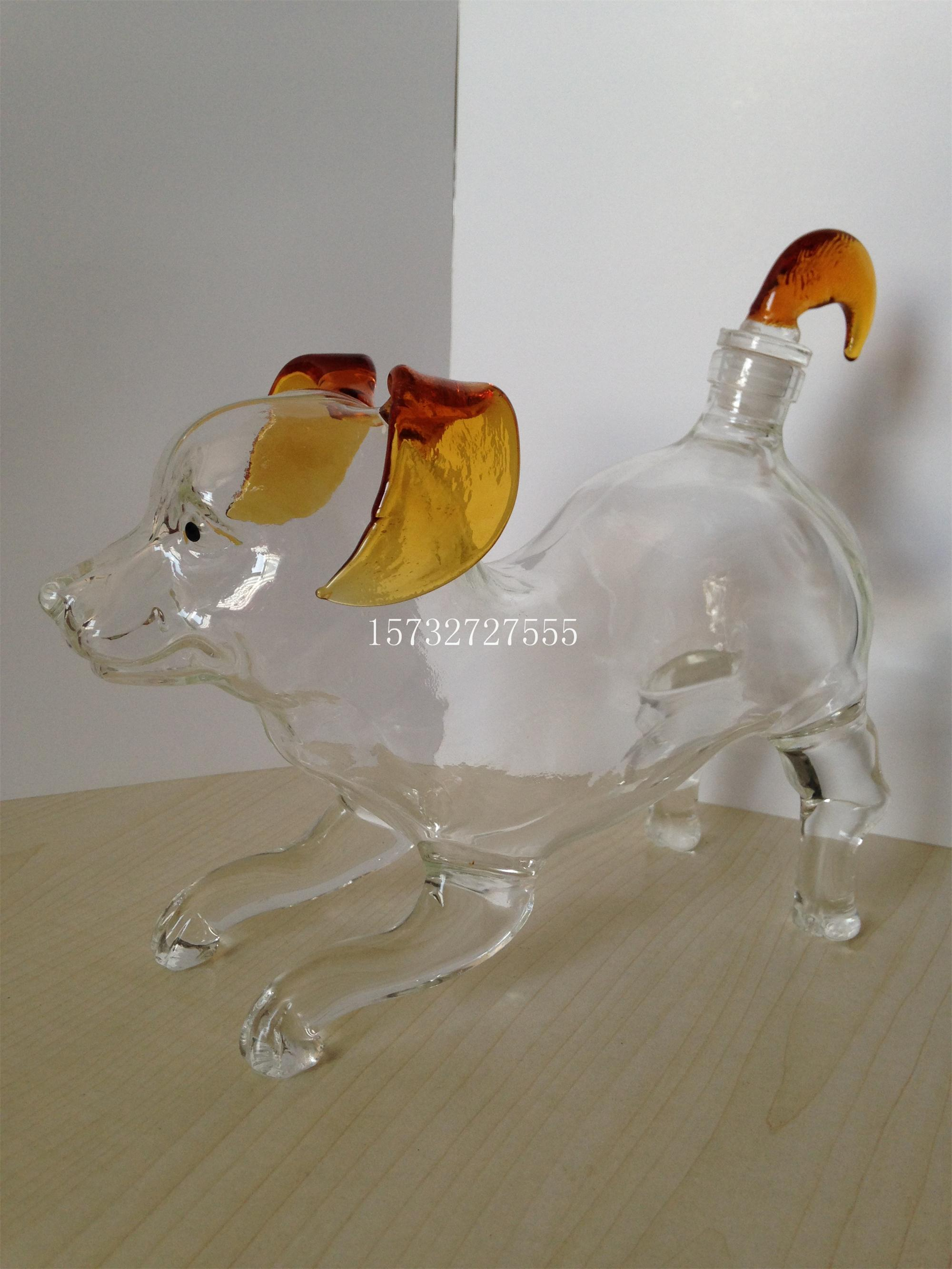 China 750ml Handcraft Dog Shaped Wine Glass Bottles