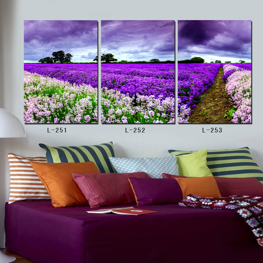 reproduction of oil painting large wall pictures 3 panel beautiful lavender flowers scenery painting
