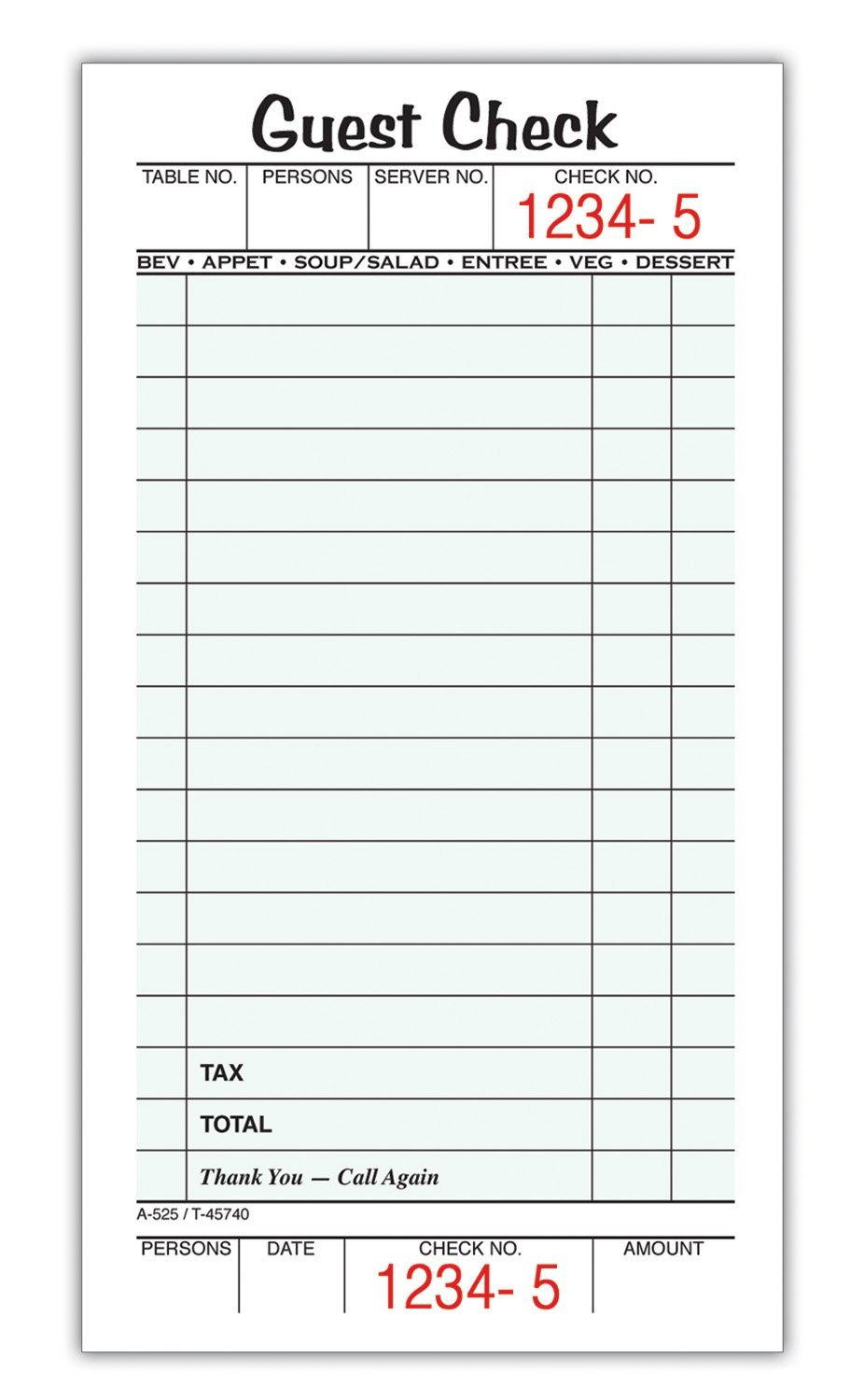 restaurant order pads/ guest check books