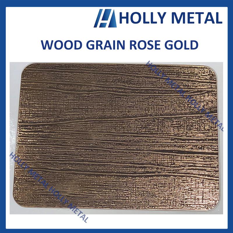 Stainless Steel Decorative Sheet Grade 201 304 (Rose Gold Wood Grain)